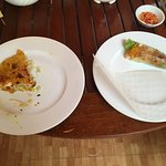 Vietnamese pancake rolled in rice paper! Yummmm.