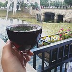 Enjoy a glass of one our hundreds of wines next to the fountain!