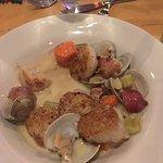 Jumbo sea scallops over clam chowder