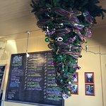 Love the hanging Mardi Gras Christmas tree.