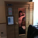 Man in sauna.