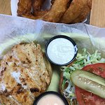 blackened grouper sandwich and onion rings