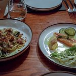 Linguini, Crab & Brown Shrimps - Valley Smoked Salmon, Deep Fried Avocado, Pickled Cucumber & Le