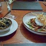 Braised Italian Greens with Chilli & Garlic + Duck Hash & Fried Local Duck Egg