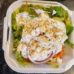 Tossed salad with ranch and I added feta cheese.