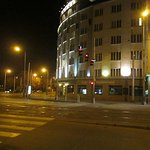 Scenery in front of Vitkov Hotel at night