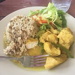 Lunch Special Curried Chicken with Rice & Peas and a salad