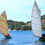 Traditional Bequia double ender sailboats in Admiralty Bay