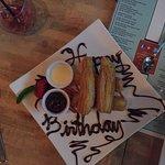 Happy birthday bread pudding at Tapas!