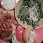 blackened grouper wth snap peas and cole slaw