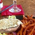 portobello sandwich and sweet potato fries
