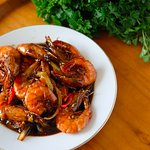 Prawns with sweet savory sauce
