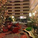 lobby fountain, nice sitting areas, bar