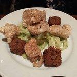 Sorbet, brussel sprouts, black kale & carrot salad, half a crab, pork tenderloin, chicharrones,
