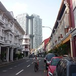 Keong Saik Rd, hotel is orange building on the right.