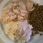 Wednesdays Special- Chicken~n~Biscuits w/mashed and peas.
