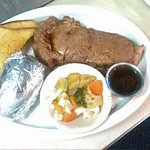 Saturdays Special After 4 PM- Prime Rib w/baked potato, vegetable and a roll.