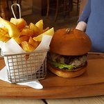 Venison burger and chips - Delicious
