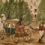Founder Arnoldus serving water (or strong water...) to arriving guests in 1836. Mural.
