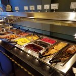 french toast, pancakes, eggs, meats, tater tots