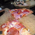 Pizza with meat.