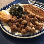 Fried catfish, okra, and awesome greens.
