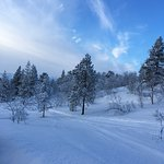 snowy mountains surrounding cabins