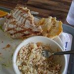 mahi burger and rice pilaf