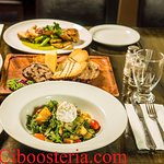 Roast Pear Salad, Charcuterie Plate & Chicken ballotine with spinach cream