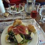 Salad appetizer with croissants & wine, Hotel de Normandie Brasserie, Arromanches, France