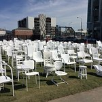 Easy walk to 183 white chairs memorilizing those lost in 2011 earthquake.