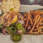 Arizona chorizo burger with egg, jalapenos and fries.