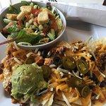 Green Tea, Nachos and Salad