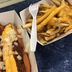 Kamp dog and cheese fries