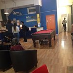 Lobby/rec room - pool tables, tables to sit at, tv