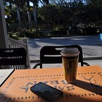 Coffee at the Sanibel Bean coffee shop with '55 Chevy in background