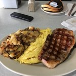 Awesome Steak and Eggs plus home fries