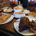 Surf & Turf with corn bread, and Fries with cheese sauce to dip. Rib & pulled pork combo with ma