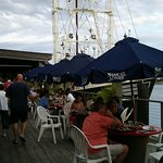 Casual boat dock dining is really cool seeing the fishing boats arrive with their fresh catch!