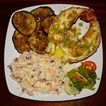 Lobster tail and veggie sides, yum!
