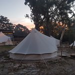 Our glamping tent at sunset