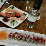 Nigiri salmon, red tuna and shrimp. Sushi roll is the Junk-in-the-trunk - spicy and awesome!
