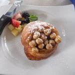 small supposed sticky bun....with garbanzo beans
