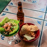 Ceviche, chips, and Virgin Islands Beer