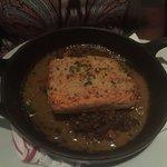 SAUTÉED SALMON DIJON mustard crust, pork braised lentils