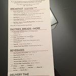 Door hanger room service menu. 4 breakfast selections. SAD!