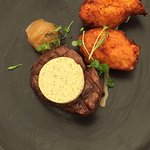 Steak with candied onion and amazing saffron mashed and crumbed potato.