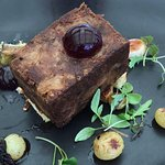 Compressed Lamb. The ball on top explodes with jus' with the most amazing flavour.