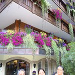 The hotel was festooned with flowers!