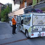 The courtesy bus, (electric! Non-electric vehicles are banned in Zermatt)